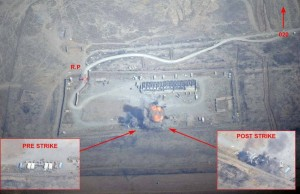 France releases before and after images of its first airstrike in Iraq, September 18th 2014.