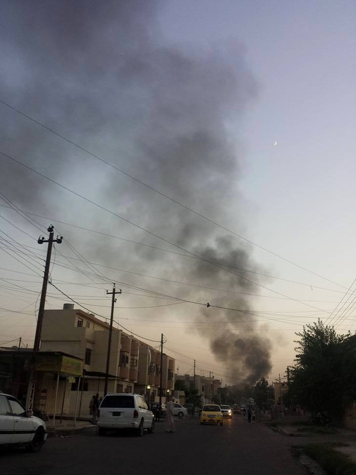 Alleged coalition strike in Mosul July 21 2015, which reportedly killed a civilian (via Mosul Ateka)