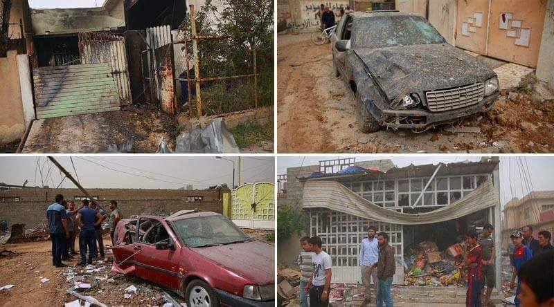 Montage of damage from a reported coalition airstrike near Mosul April 20th 2015 (Photo: Mosul Residents Facebook page)