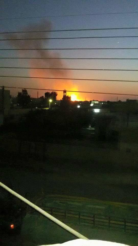 One of several fires caused by alleged coalition airstrikes on Ar raqaa on July 11 2015 (via Raqaa is Being Slaughtered Silently)