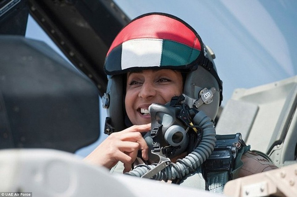 UAE F-16 pilot Mariamal-Mansouri, who took part in anti-ISIL strikes September 23rd-24th 204 (UAE Air Force)