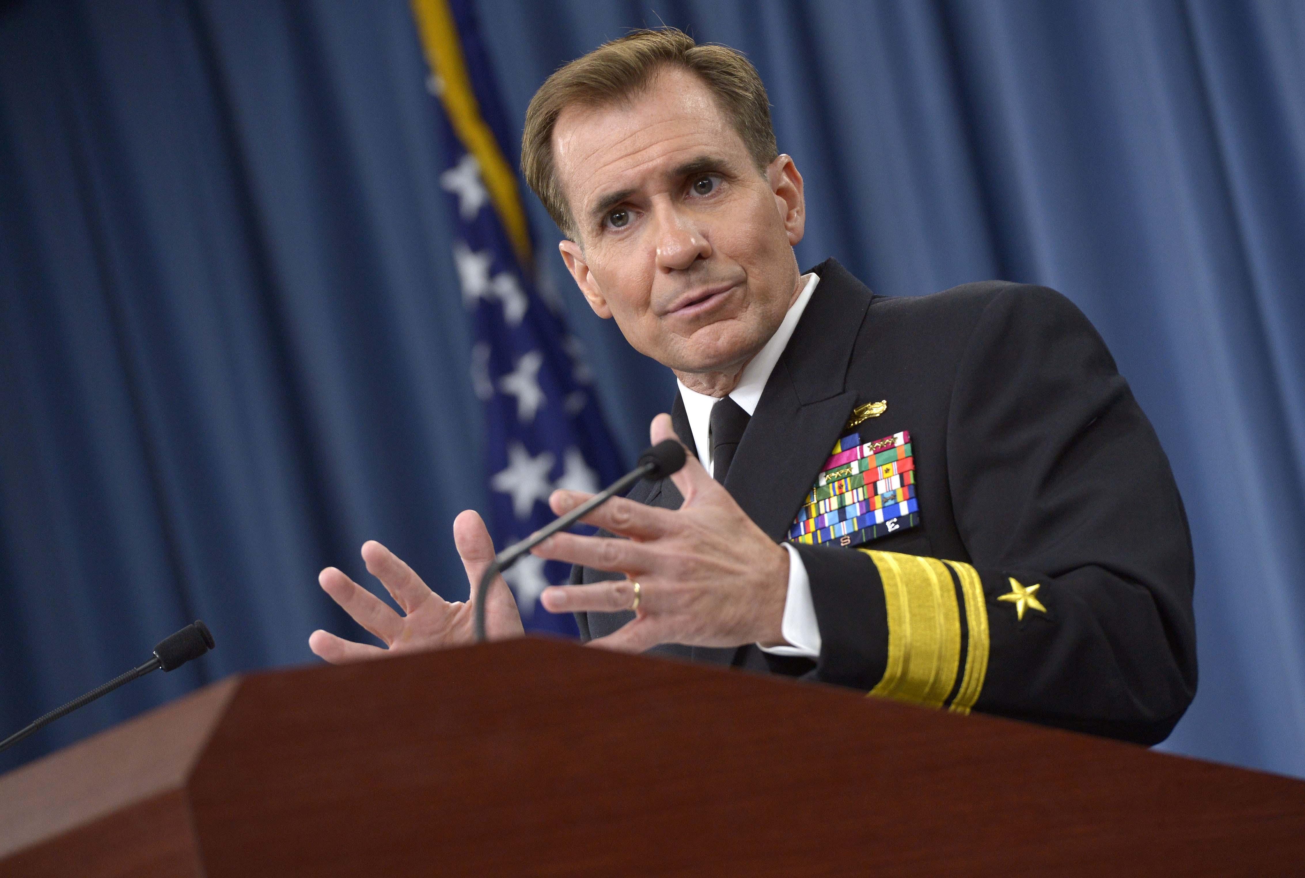 Pentagon Spokesman Rear Adm. John Kirby briefs the media on efforts to defeat ISIL September 2014 (DoD/ Glenn Fawcett)