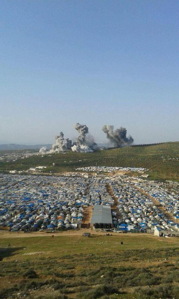 Reported coalition airstrike in close proximity to IDP camp, Atama, Syria March 8 2015 (TurkPress)