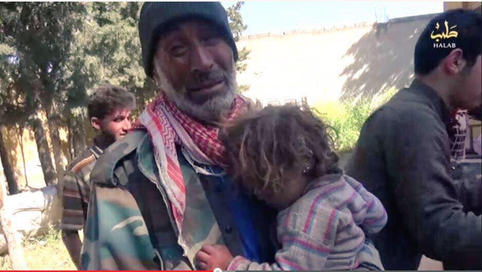 A child survivor of the Ber Mahli, Syria attack reportedly carried out by the coalition, April 30 2015 (SOHR)