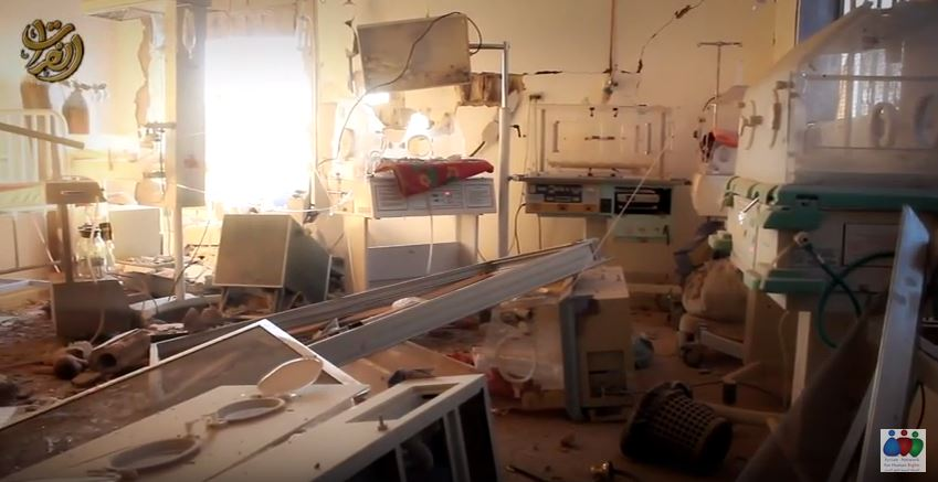 Aisha hospital's badly damaged incubator room, in an image taken from an ISIL propaganda video