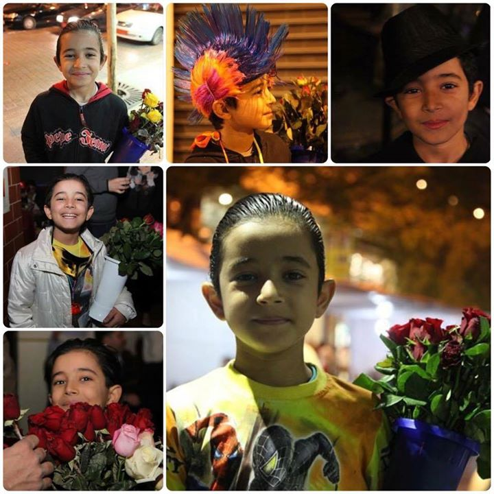 Pictures of popular flower seller Fares taken in Beirut (via Hamra Street Facebook page)