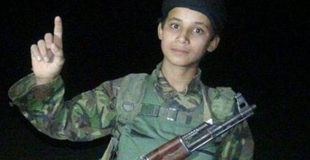 Child suicide bomber 'Abu Khattab Al Ansari', who one newspaper controversially claimed was Fares (via Al Hadath)