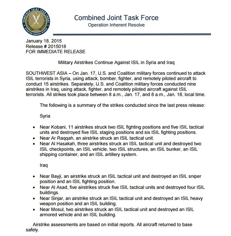 The CJTF-OIR report for Jan 17th-18th 2015, which was not publicly released.
