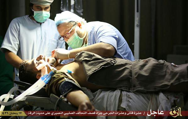 Doctors operate on a civilian reportedly injured in a US air raid on Raqaa July 4th (via Raqaa is Being Slaughtered Silently)