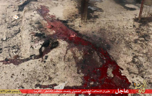 Islamic State propaganda issued in the wake of the alleged coalition airstrike