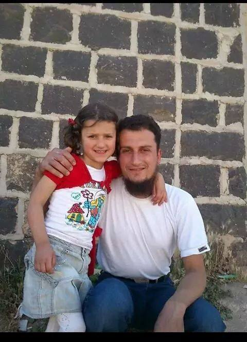 Five year old Daniya Ali Al Haj Qaddour and her father, militant Ali Saeed Al Haj Qaddour, both killed in a reported US air strike at Harem, November 5th 2014 (via SNHR)
