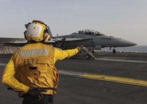 F/A-18F Super Hornet aboard USS Theodore Roosevelt May 25 2015 (US Navy/ Specialist Danica M.Sirmans)