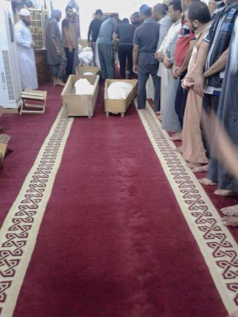 Funeral for a family of four reported killed in a Coalition strike at Hit, Iraq Sept27 2015 (via Iraqi Revolution)