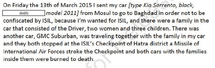 The partly redacted testimony of an Iraqi car owner which led Centcom to conclude it had killed civilians in Iraq on march 13th 2015