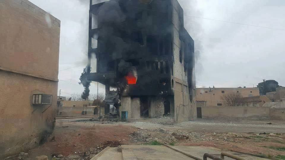 One of the buildings reportedly targeted by the Coalition on February 27th in Ayn (via Raqaa is Being Slaughtered)