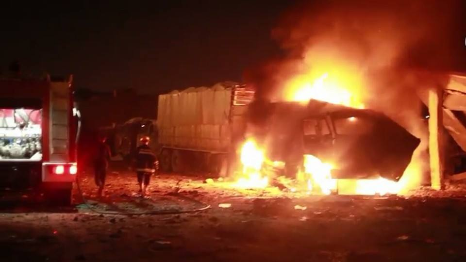 Burning supply trucks following a Feb 26 strike which also killed five civilians (via NRN News)