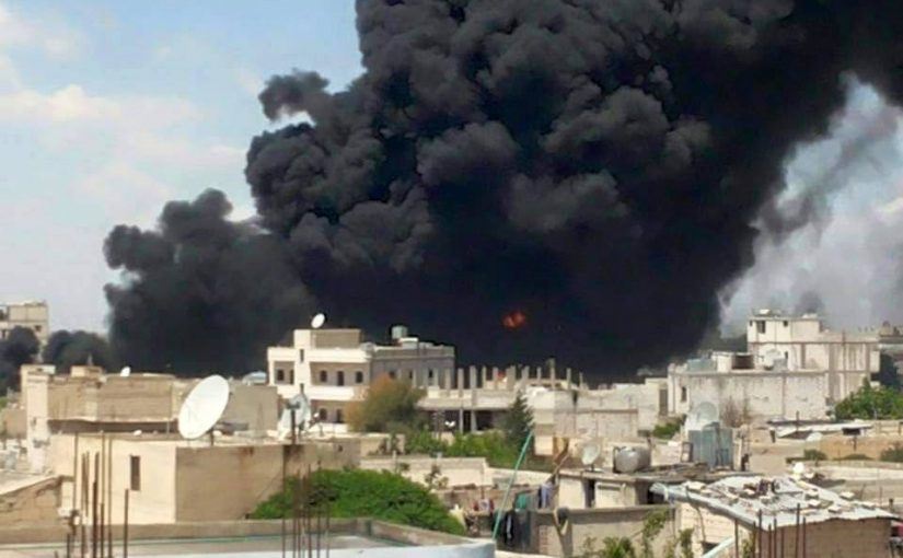 Smoke bellows from Manbij following alleged Coalition strikes on June 22nd (via Syrian Observatory for Human Rights)