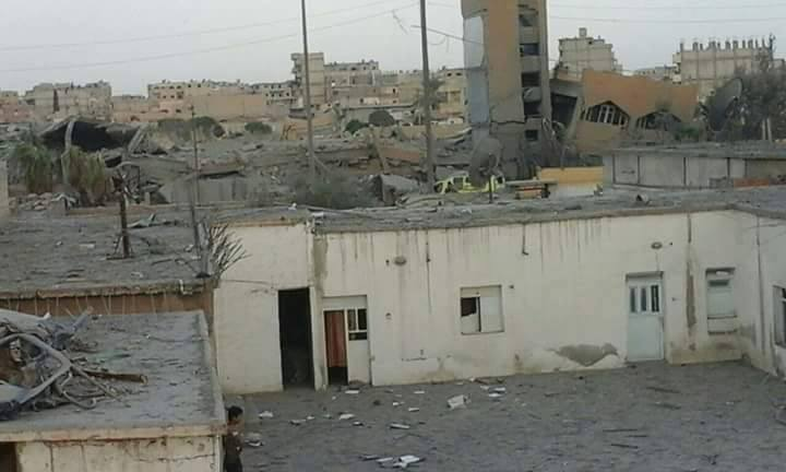 Munir Habib High School in Raqqa, damaged i na reported Coalition strike on August 23rd which may be linked to civilian casualties (Via Syrian Network for Human Rights)