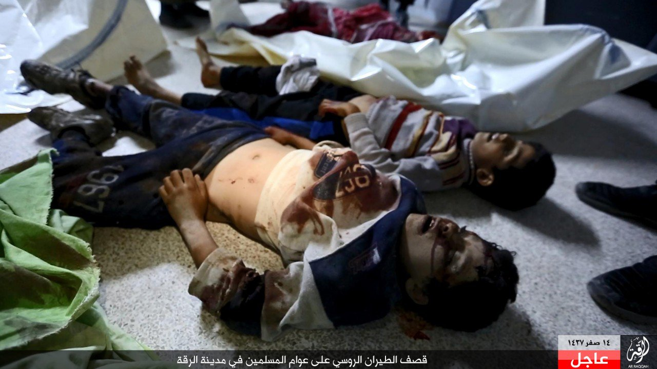 GRAPHIC: Image depict child victims of an alleged Russian airstrike on Ar Raqqah, November 26th (via SN4HR)