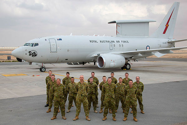 The current rotation (Rotation Five) of E-7A maintenance personnel in front of a RAAF E-7A Wedgetail airborne command and control aircraft ground crew, at Australia's main logistics base for ADF operations in the Middle East region. (Aus MoD)