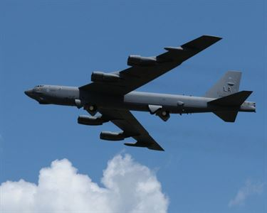The B-52 Stratofortress -- a long-range, heavy bomber that can perform a variety of missions -- has been added to the U.S.-led-coalition's airstrike arsenal in the campaign to counter the Islamic State of Iraq and the Levant in Iraq and Syria. (US DoD)