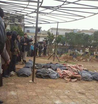 Bodies are covered following an alleged Russian raid on Al Ghantu, February 12th (via SN4HR)