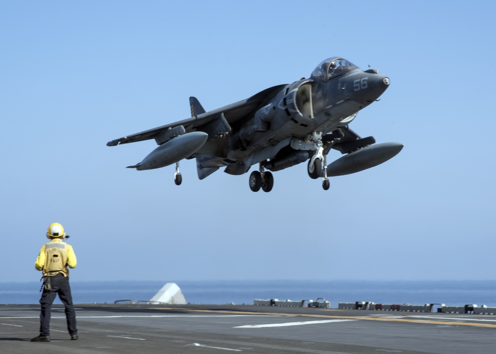 An AV-8B Harrier lands on the flight deck of USS Wasp (US Navy)