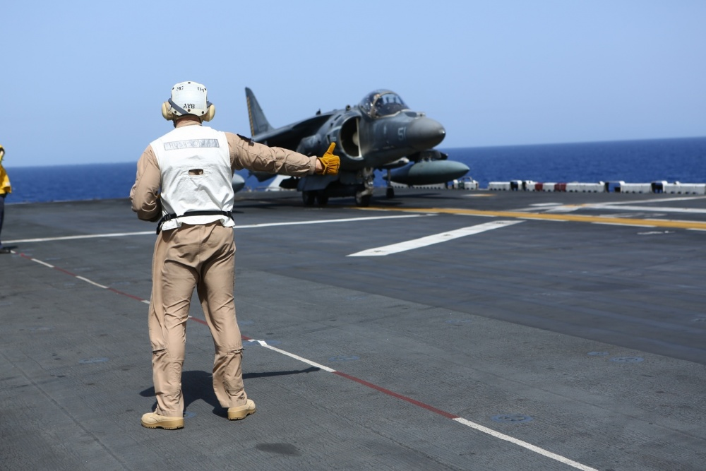 An AV-8B Harrier II takes off from USS Wasp, Oct 14th (US Navy)