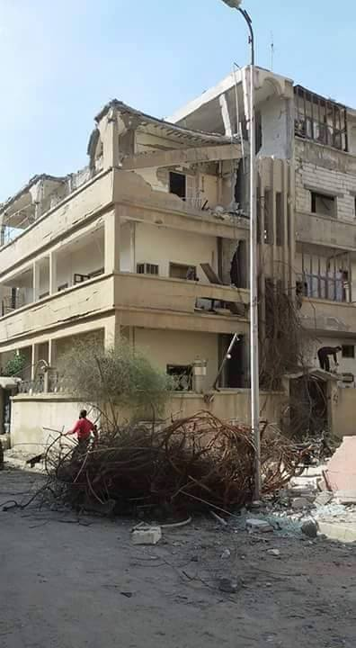 The al Lailat building in al Thakana neighbourhood, Raqqa, after it was targeted by a raid on Mar 19th (via RBSS)