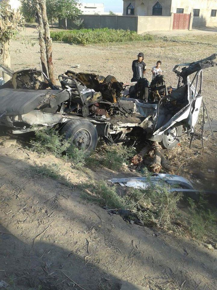 One of the vehicles bombed (via Our al Bukamal)