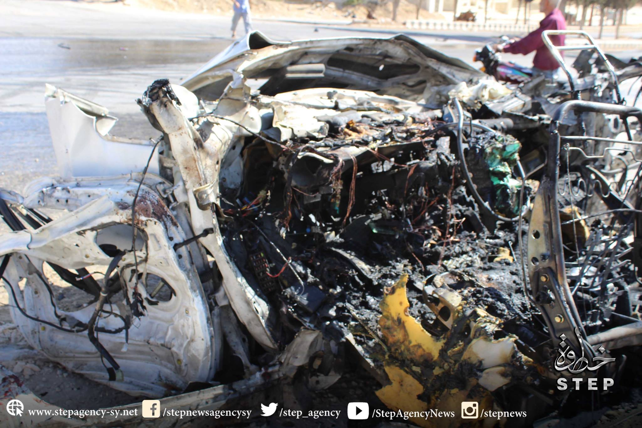 Remains of a vehicle targeted by the Coalition in Idlib October 17th 2016. The attack also reportedly injured three civilians (via Step News)