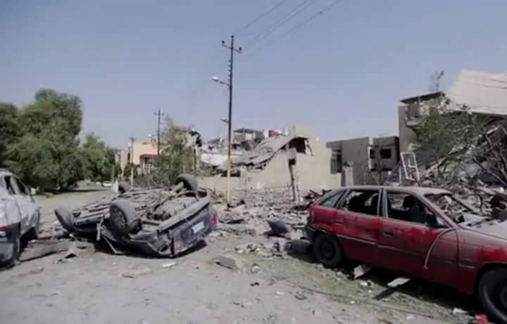 A reported image of destruction at Jissag, following an alleged Coalition airstrike on August 19th which is said to have killed five or more civilians (News of Iraq)