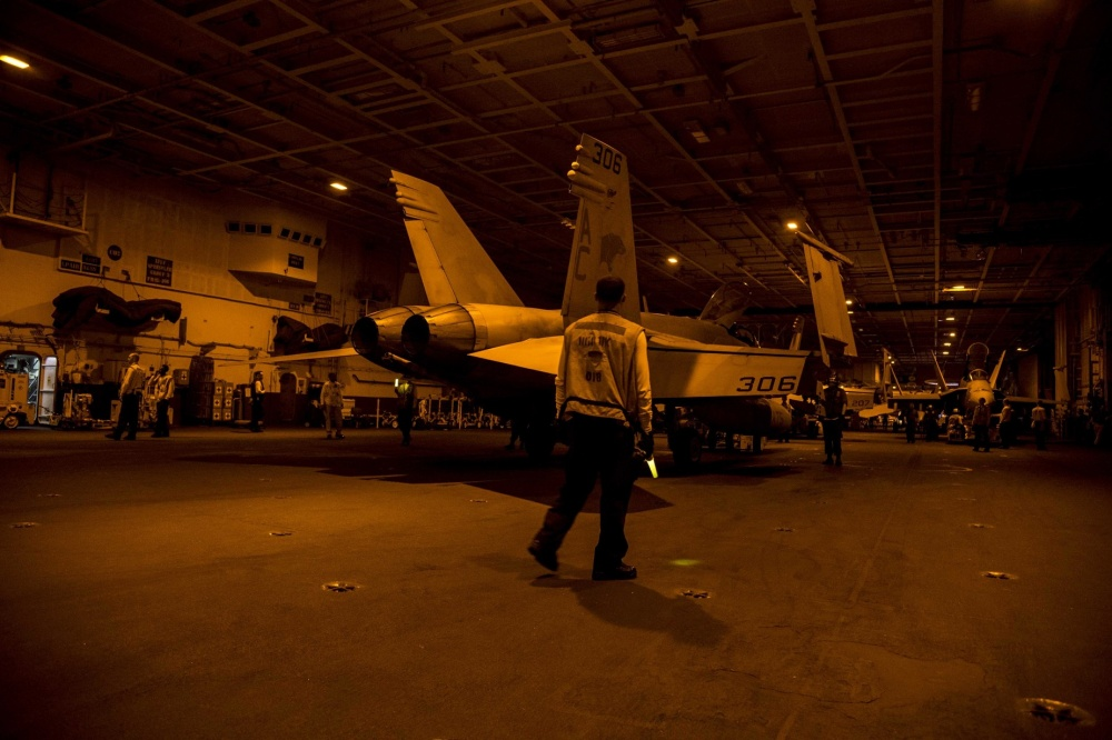 Jets in the hangar bay of USS Dwight D. Eisenhower, Oct 19th (US NavY