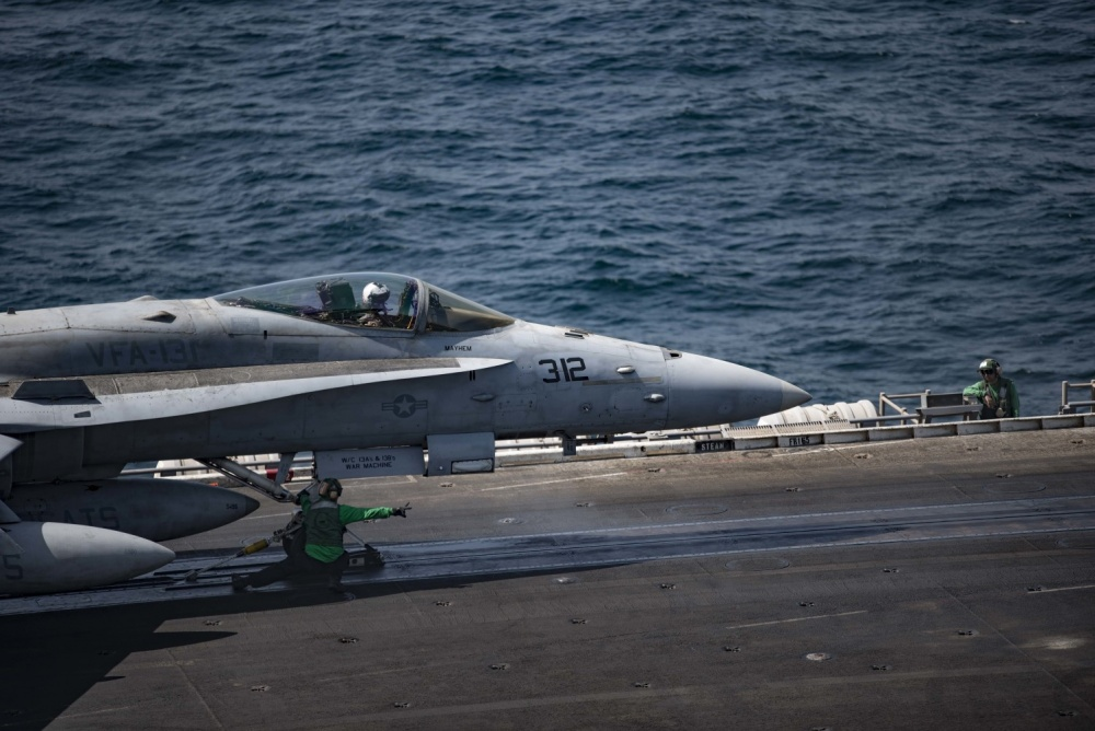 An F/A-18C Hornet prepares to launch off of the flight deck of the aircraft carrier USS Dwight D. Eisenhower, Oct 5th (US Navy)