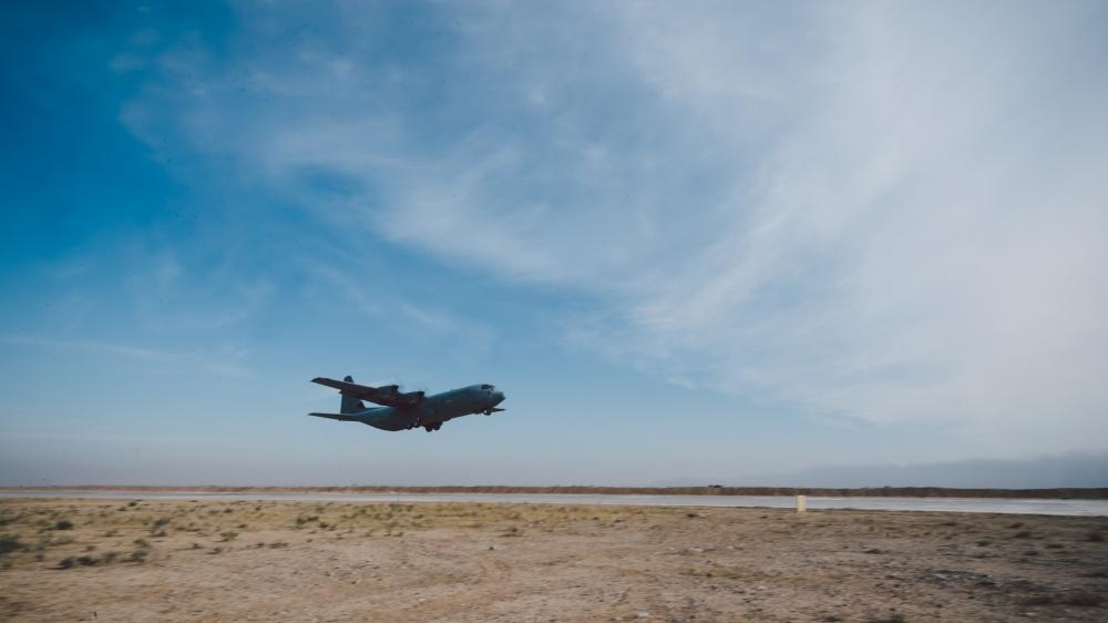 An Iraqi air force C-130 Hercules departs from Qayyarah West Airfield, Iraq, Nov 13th (US Air Force)