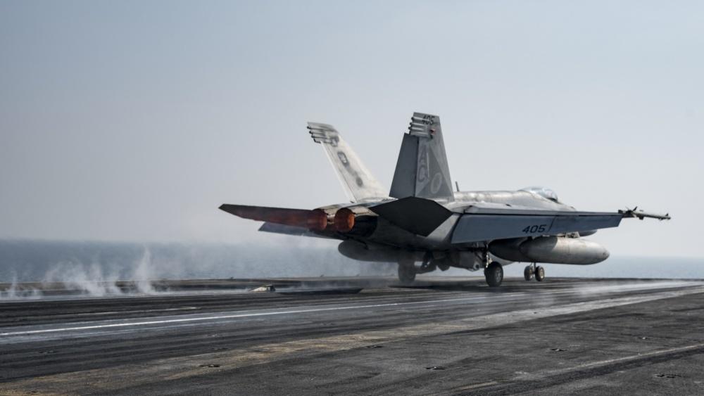 An F/A-18E Super Hornet launches from USS Dwight D. Eisenhower , Nov 17th (US Navy)