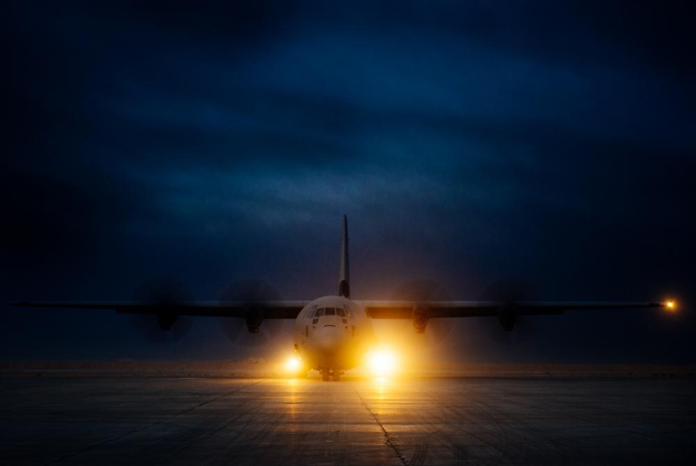 An Iraqi air force C-130J Super Hercules taxis along the runway at Qayyarah West Airfield, Iraq, Nov. 19 (US Air Force)