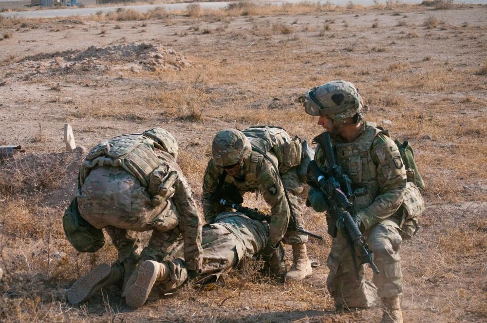 A Coalition base response drill, Nov. 3, 2016, at the Qayyarah West Airfield, Iraq (US Army)