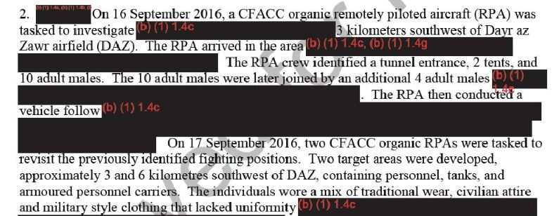Part of the heavily redacted CENTCOM report into the September 17th botched raid
