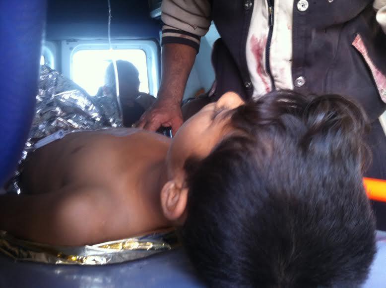 A 10-year old boy injured in Shishan neighbourhood, Mosul on November 14th 2016(Latif Habib/ Airwars)