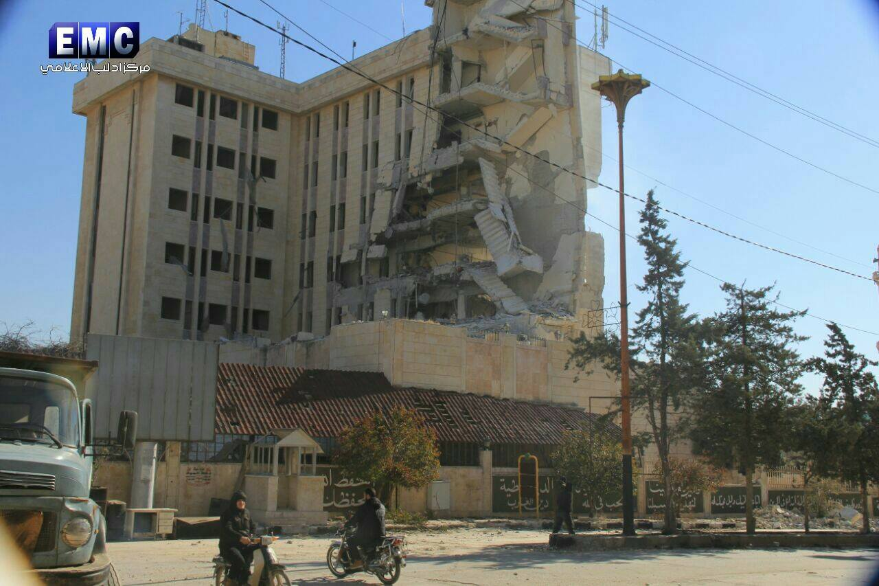 Idlib's Red Crescent hospital, damaged in a reported Coalition strike on February 1st 2017 (via Idlib Media Centre)