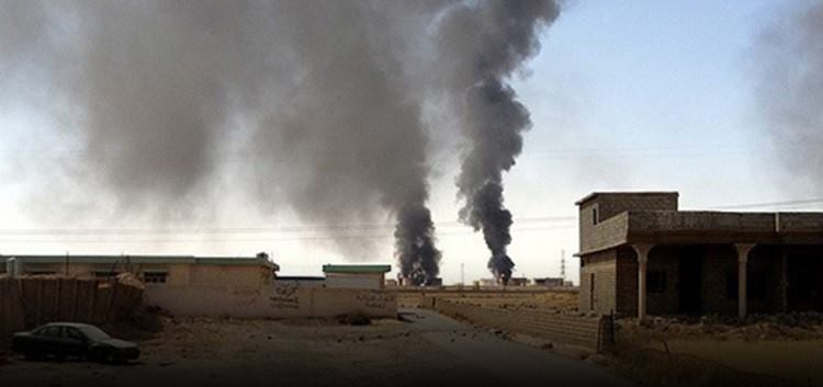 Smoke bellows from Khusham following an alleged Coalition strike on an oil market, Jan 7th (via Ara news)