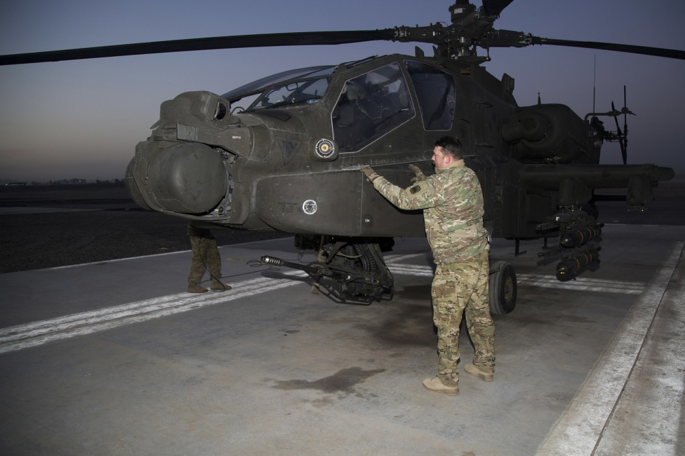 Pre-flight checks are performed on a AH 64E Apache helicopter at Camp Erbil, Iraq, Jan. 10, 2017 (US Army)