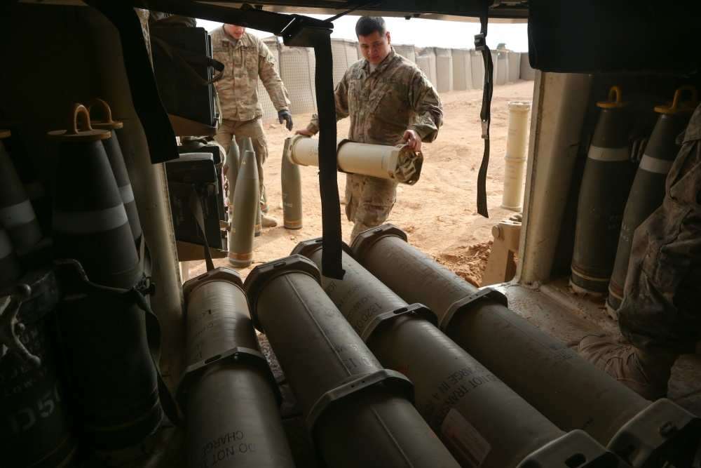 Ammunition used to conduct a fire mission on a M109A6 Paladin howitzer at Al Asad Air Base, Iraq, Jan. 2, 2017 (US Army)