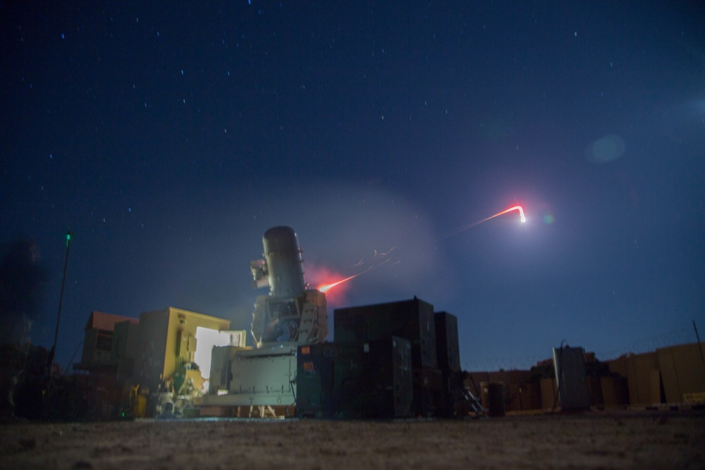 A land–based Phalanx weapons system assigned to B Battery, 5th Battalion, 5th Air Defense Artillery Regiment conducts a test fire mission to maintain mission readiness at Camp Manion, Iraq, Jan. 6, 2017 (US Army)