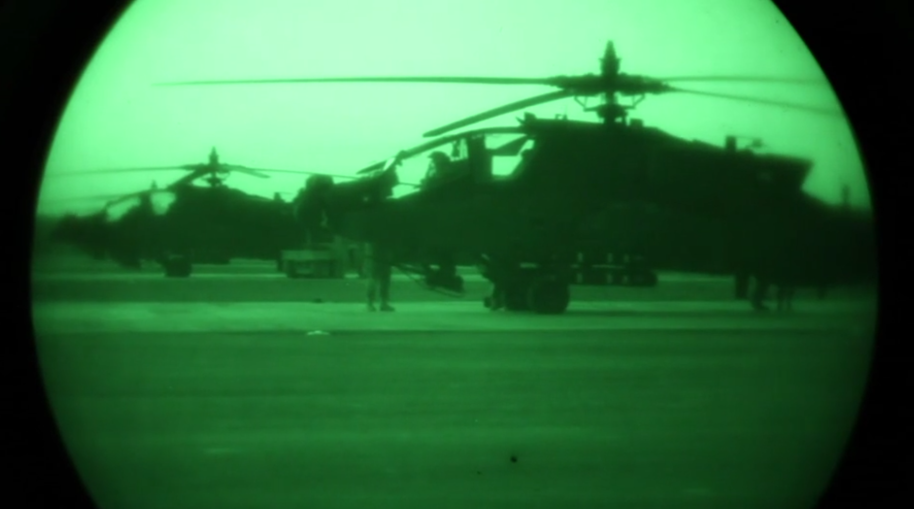 U.S. Army soldiers prepare AH-64E Apache for operation in Erbil, Iraq on January 10, 2017. (Photo taken from U.S. Army video.)