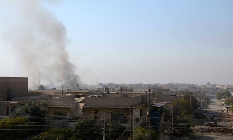 "Smoke bellows from civilian homes following an alleged Coalition airstrike on Al Arabi, January 14th. Sources said that the warplanes had struck the ""wrong target"" (via Network Baghdad.)"