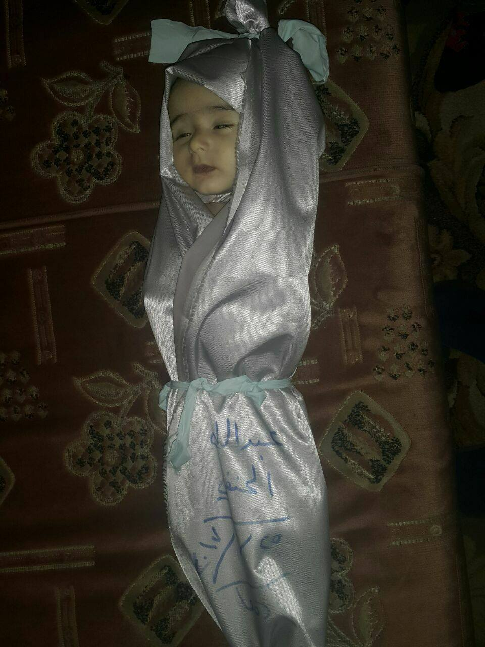 The child, Abdullah al Hanfi, killed in an airstrike on Douma, February 25th. The Syrian Network for Human Rights blamed the regime, while other sources pointed towards Russia. (via SN4HR)