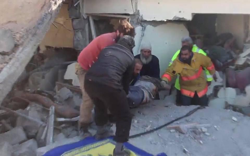Bodies are pulled from the rubble following an alleged Coalition raid on Al Tabaqa, March 19th (via RBSS)