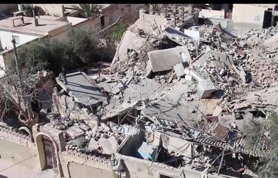 The aftermath of one of several alleged Coalition strikes on multiple locations in Al Tabaqa, March 19th (via RBSS)